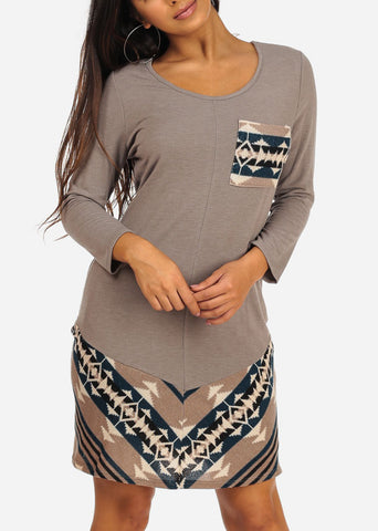 Image of Casual Long Sleeve Round Neckline Aztec Print Grey Dress
