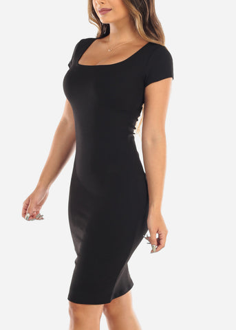 Image of Sexy Black Bodycon Midi Dress