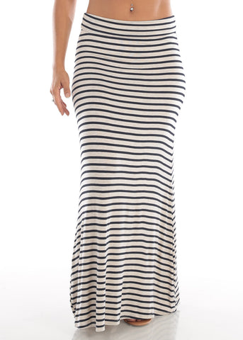 Cute Casual Super Stretchy High Waisted Cream And Black Stripe Long Maxi Skirt For Women Ladies Junior On Sale Affordable Price