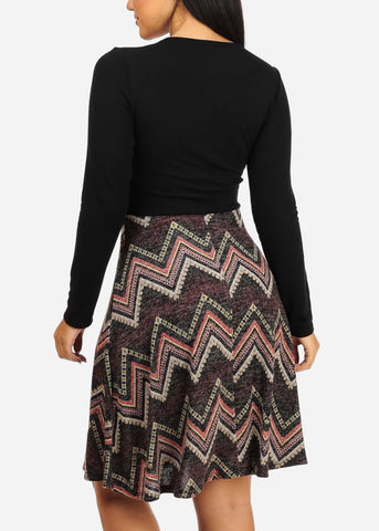 Wrap Front Zig Zag Print Dress