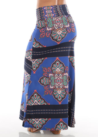 Image of Cute Casual Super Stretchy High Waisted Blue Floral Print Long Maxi Skirt For Women Ladies Junior On Sale Affordable Price