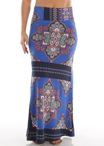 Image of Blue Floral Print Maxi Skirt