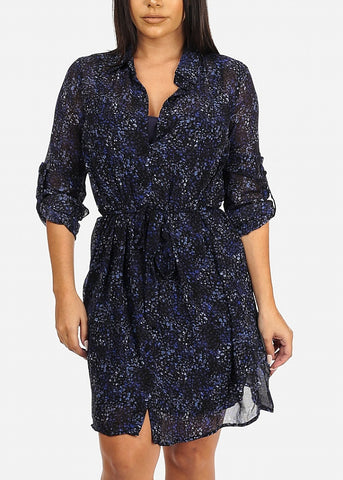 Image of Navy Floral Print Chiffon Dress