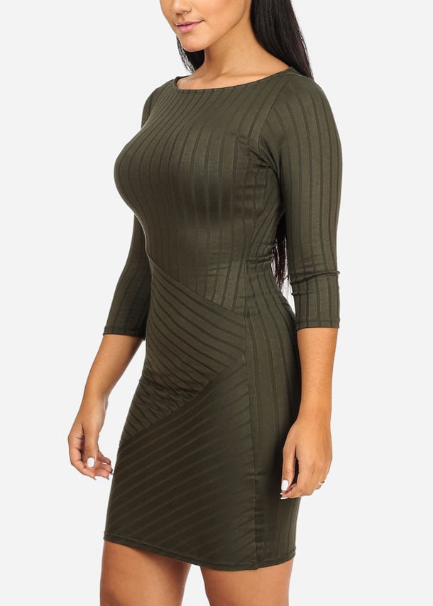 Stylish Bodycon Stripe Olive Dress