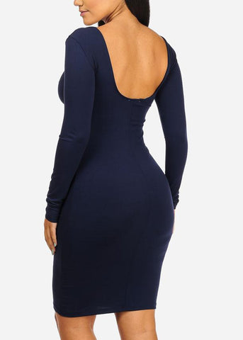 Image of UNSTOPABLE Graphic Navy Bodycon Dress