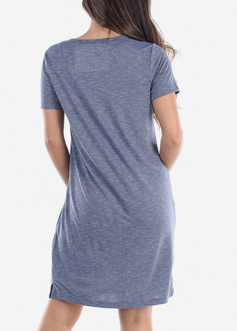 Image of Cute Casual Short Sleeve Slip On Denim Navy Essential Shirt Dress For Women Ladies Junior On Sale Discounted Price
