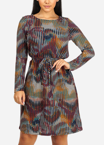 Image of Stylish Multicolor Print Dress