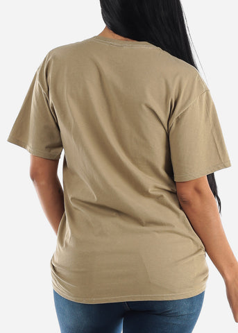 "Oversized Khaki Graphic T shirt ""Less Monday"""