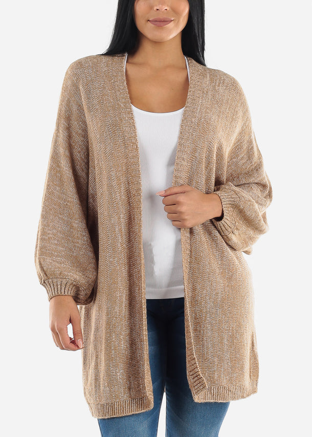 Khaki Long Knit Cardigan Sweater