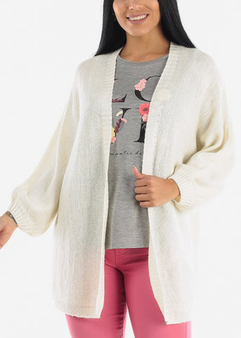 Bishop Sleeve Cardigan Sweater