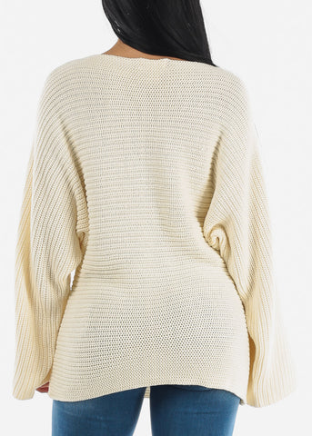 Loose Ivory Ribbed Knit Sweater