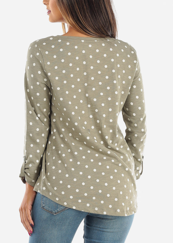 Casual Olive Polka Dot Tunic Top