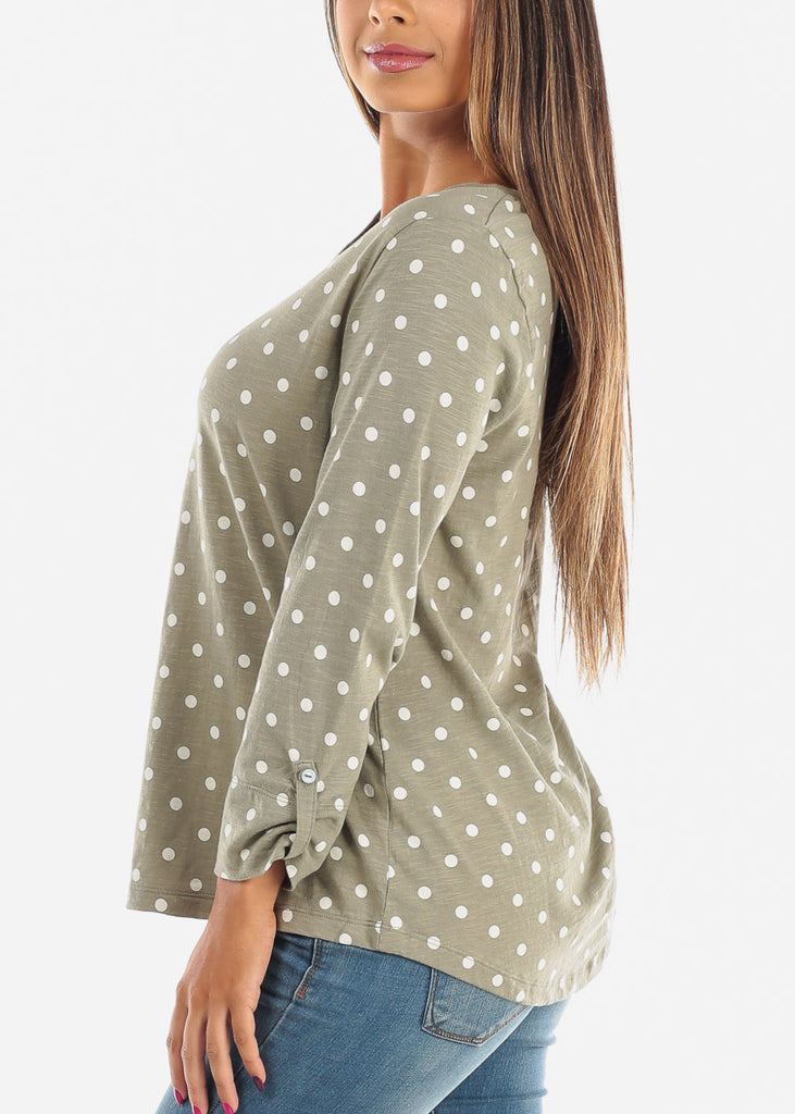 Casual Olive Polka Dot 3/4 Sleeve Stretchy Tunic Top For Women Ladies Junior On Sale Affordable Price