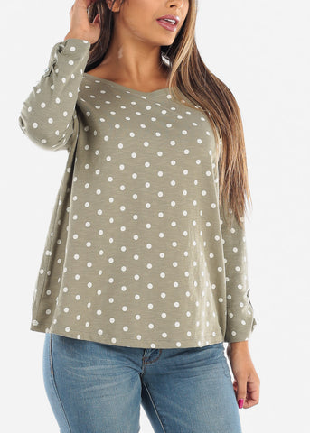 Image of Casual Olive Polka Dot 3/4 Sleeve Stretchy Tunic Top For Women Ladies Junior On Sale Affordable Price