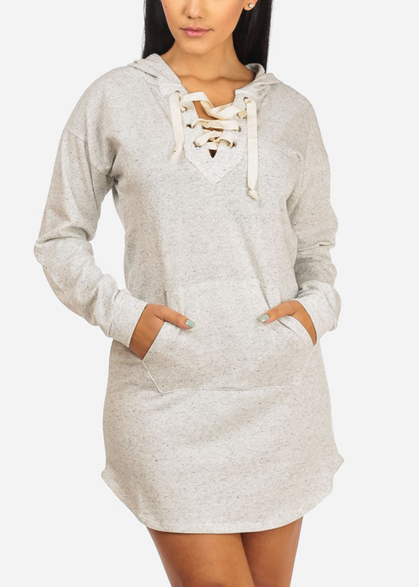 Lace Up Neckline Grey Dress
