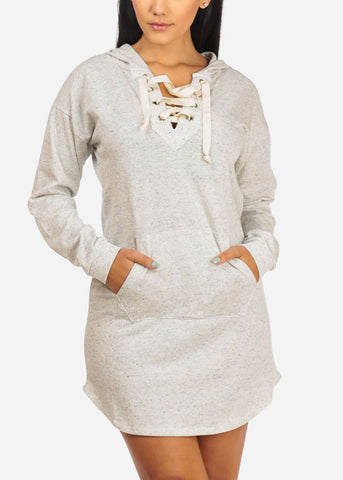 Image of Lace Up Neckline Grey Dress