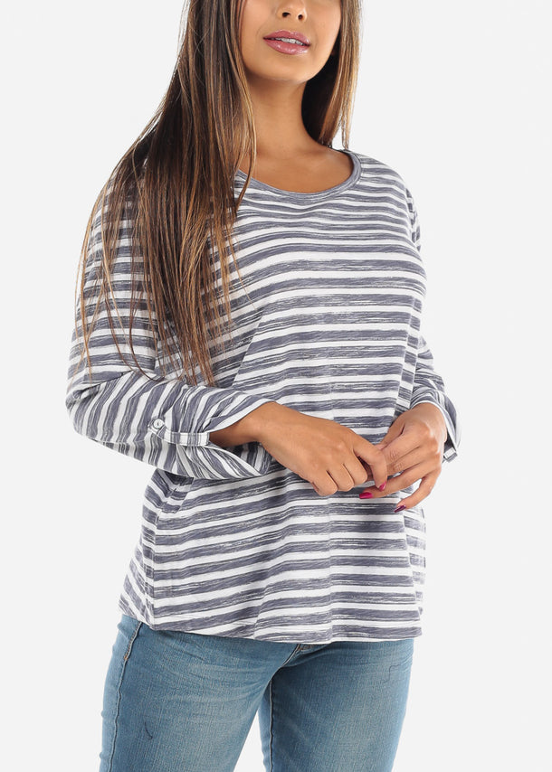 Casual Grey Stripe 3/4 Sleeve Stretchy Tunic Top For Women Ladies Junior On Sale Affordable Price