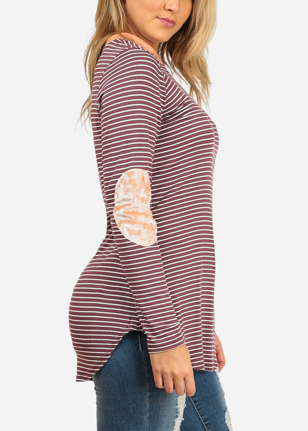 Burgundy Stripe Tunic Top