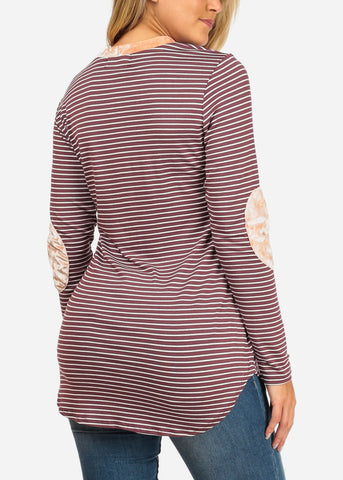 Women's Junior Ladies Casual Burgundy Stripe Patched Elbows Long Sleeve Stretchy Tunic Top
