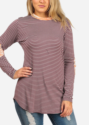 Image of Women's Junior Ladies Casual Burgundy Stripe Patched Elbows Long Sleeve Stretchy Tunic Top