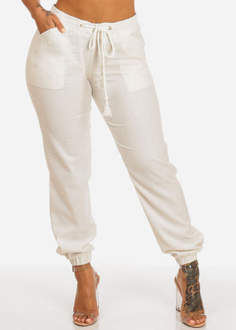 Image of Cheap Ivory Drawstring Waist Linen Pants