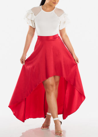 Sexy Lightweight High Waisted High Low Solid Red Skirt For Women Ladies Junior Night Out Clubwear Party