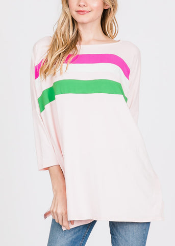 Chest Stripe Pink Tunic Top