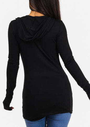 Stylish Sip Happens Long Sleeve Round Neckline Black Top