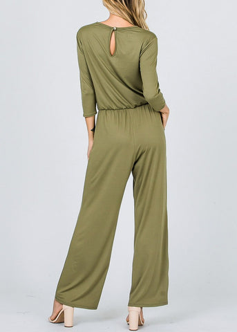 Image of Drawstring Waist Olive Jumpsuit