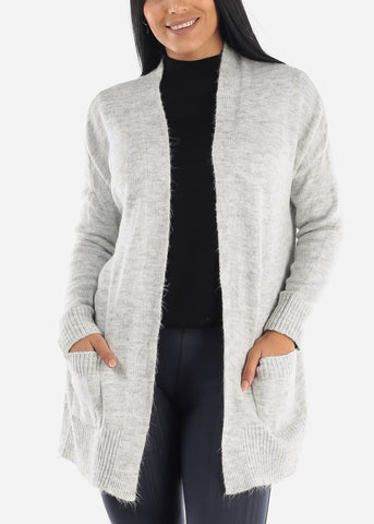 Image of Knit Open Front Cardigan Sweater