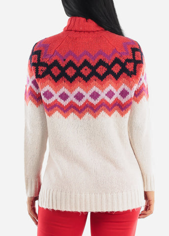 High Neck Cozy Red Knit Sweater