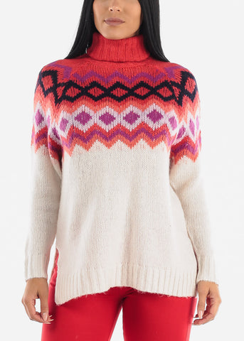 Image of High Neck Cozy Red Knit Sweater
