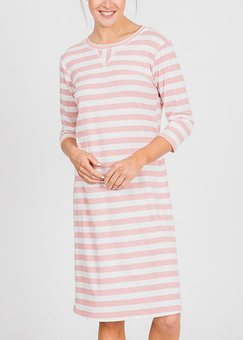 White & Mauve Stripe Midi Dress