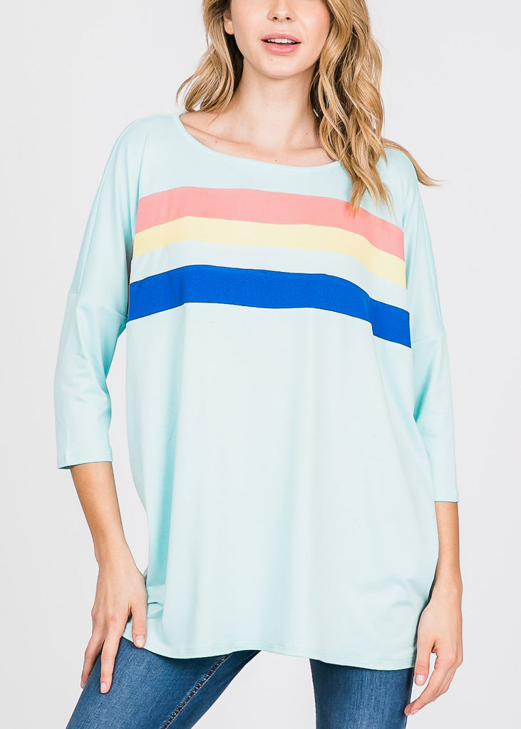 Chest Stripe Aqua Tunic Top