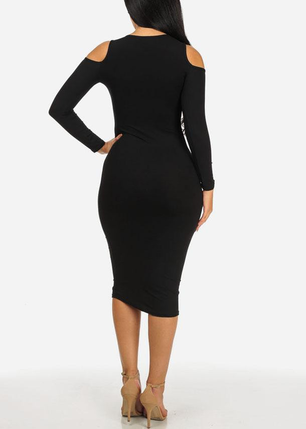 Don't Call Me Babe Black Midi Bodycon Dress
