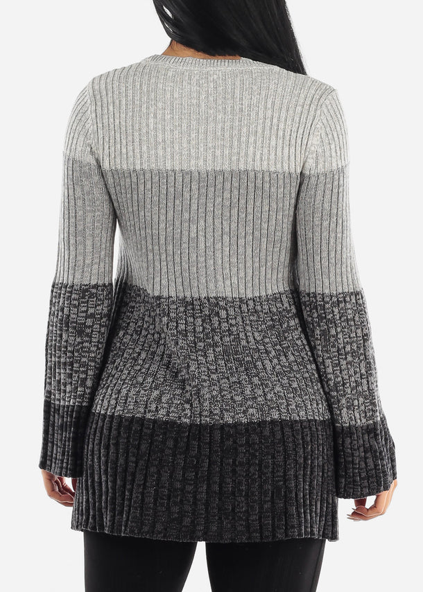 Grey Bell Sleeve Ribbed Knit Sweater