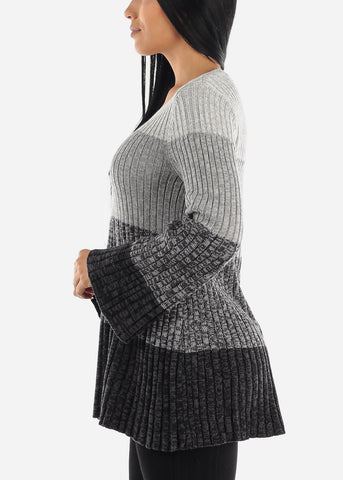 Image of Grey Bell Sleeve Ribbed Knit Sweater