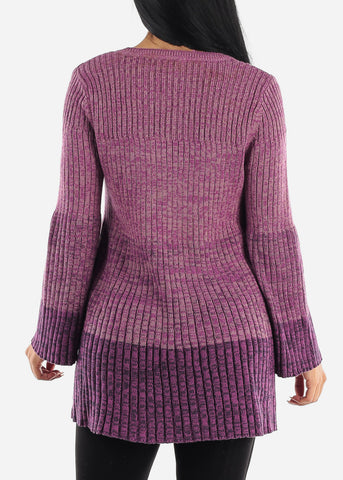 Image of Purple Bell Sleeve Ribbed Knit Sweater