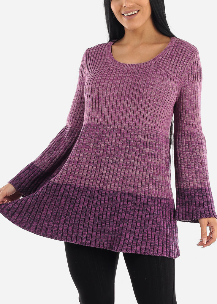 Purple Bell Sleeve Ribbed Knit Sweater