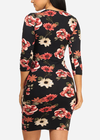 Black and Rose Bodycon Dress