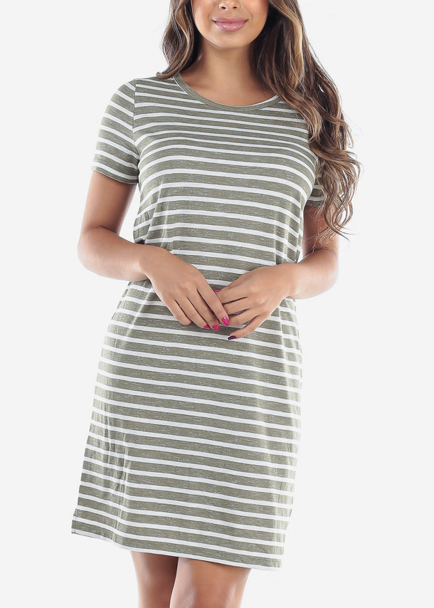 Cute Casual Short Sleeve Olive Stripe Loose Fit Dress For Women Ladies Junior For Sale Savings Discount Prices