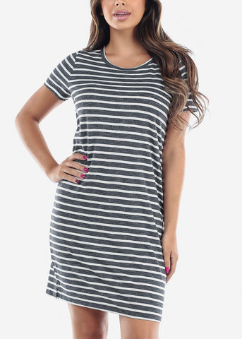 Cute Casual Short Sleeve Dark Grey Stripe Loose Fit Dress For Women Ladies Junior For Sale Savings Discount Prices
