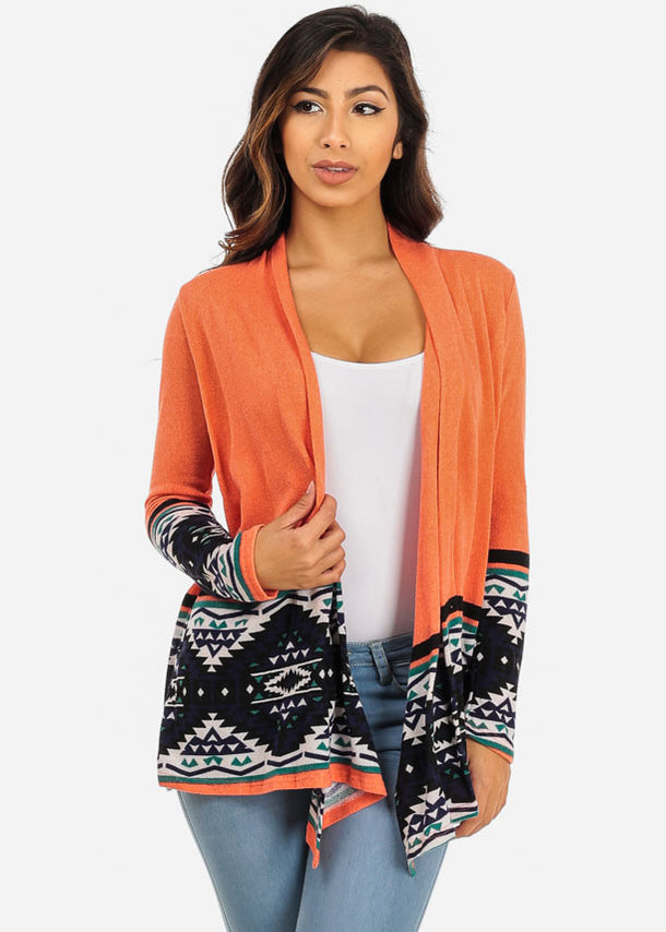 Aztec Print Orange Cardigan at Discount Prices