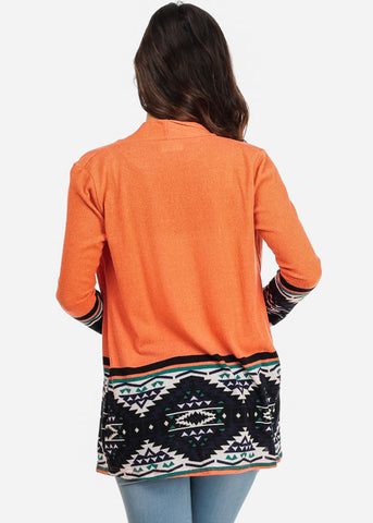 MADE IN USA Orange Long Sleeve Aztec Print Open-Front Cardigan