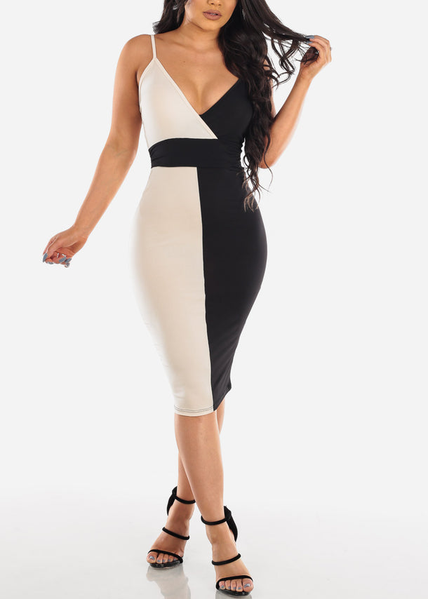 Sexy Black And Cream Spaghetti Strap Colorblock Dress For Women Ladies Junior Night Out Clubwear Party 2019 New Collection