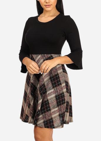 Fit And Flare Black Plaid Dress