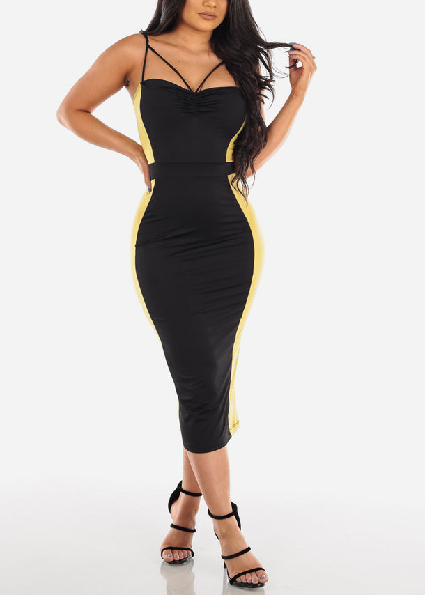 Sexy Black And Mustard Colorblock Tight Fit Bodycon Midi Dress For Women Ladies 2019 New Dresses