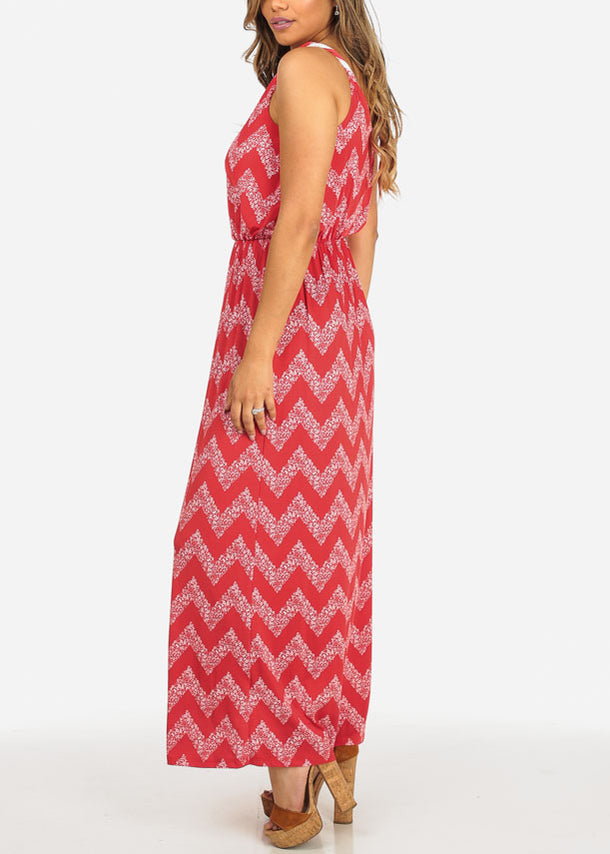 GILLI Zigzag Red Maxi Dress