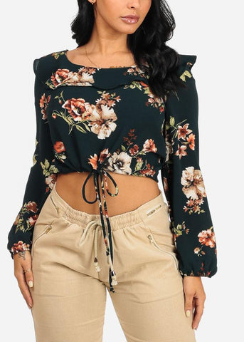 Dark Green Floral Drawstring Long Sleeve Crop Top