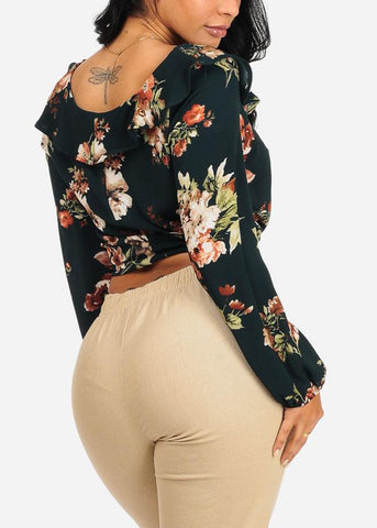 Image of Dark Green Floral Drawstring Long Sleeve Crop Top